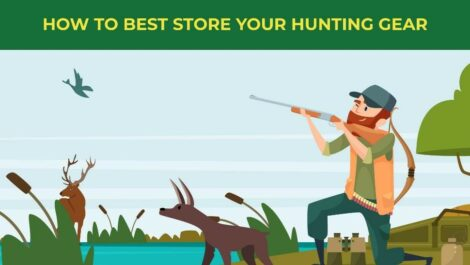 How to best store your hunting gear - man hunting in front of a lake with animals around him.