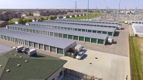 Aerial view of Five Star Storage facility featuring outdoor units with drive up access.